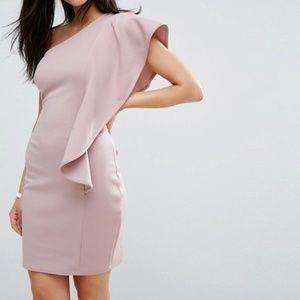 ASOS Club L One Shoulder Dress in Mauve